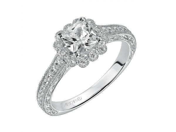 Amaya - Diamond Halo engagement ring with milgrain detail on halo, enhanced with diamond, engraved/milgrain shank.
