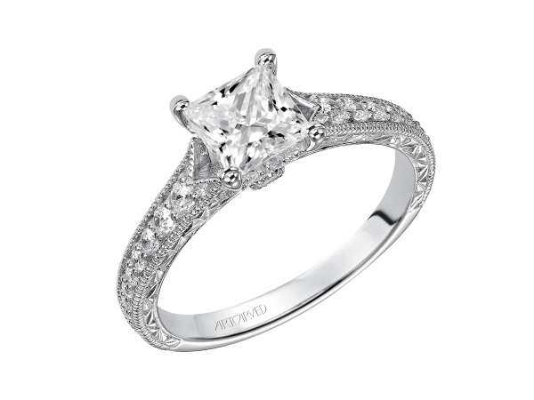 Ruth - Diamond engagement ring with milgrain and engraved diamond band.
