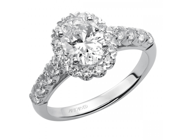Gabby - Oval diamond halo engagement ring with diamond band.