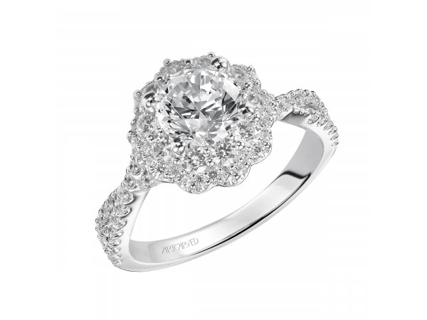 Natasha - Diamond halo engagement ring with twisted diamond band.