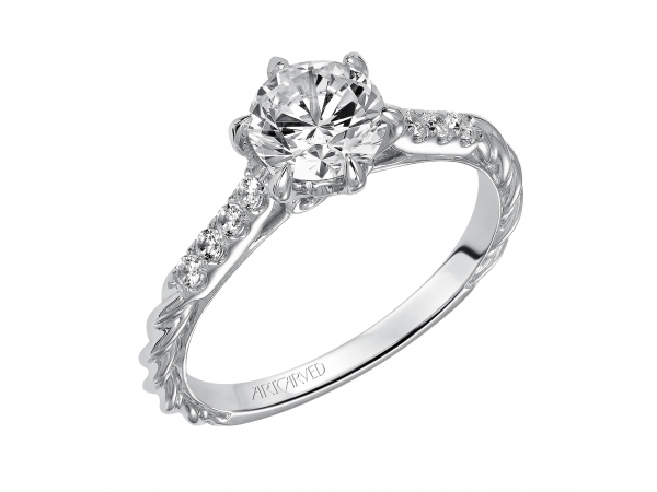 Meadow - Diamond engagement ring with prong set diamonds on the shank, also featuring our delicate rope design.