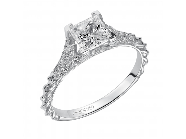 Regina - Diamond engagement ring with prong set diamonds and milgrain detail on the shank, also featuring our rope design.