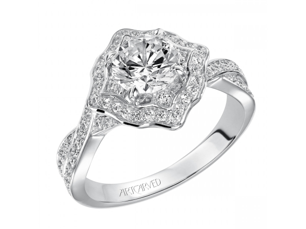Lucia - Contemporary Halo engagement ring featuring twisted diamond shank.