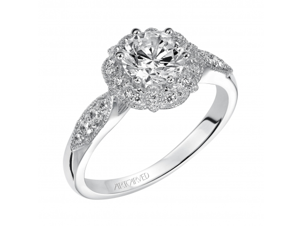 Francesca - Enchanted milgrain Halo engagement ring with diamond shank and milgrain borders.
