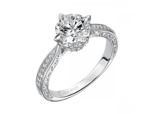 Calista - Diamond engagement ring featuring engraved diamond shank, with delicate design under center stone.