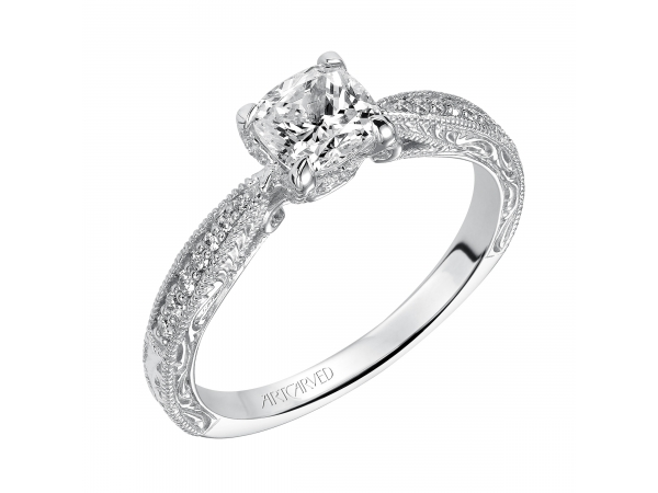 Harlow - Diamond engagement ring featuring diamond/engraved shank and milgrain borders.
