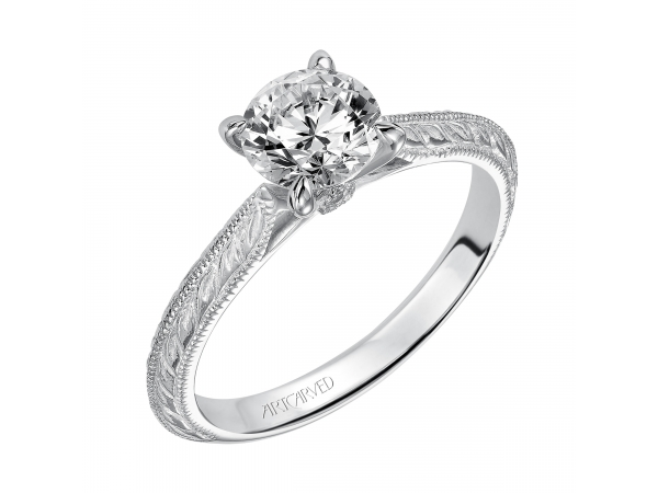 Imani - Solitaire diamond engagement ring featuring a knife edge engraved shank with milgrain edges and surprise bezel set stones.