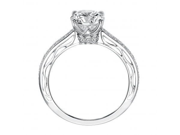 Ayanna - Diamond engagement ring with diamond detail under the center stone and filigree design accent in the shank.