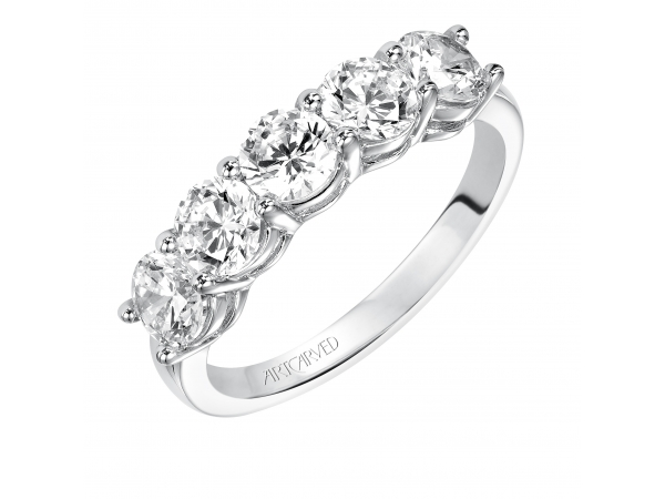 Artcarved Anniversary Band - Classic 5 stone round cut diamond shared prong band. Available in the following carat weights: 0.33CT, 0.50CT, 0.75CT, 1.00CT, 1.50CT, 2.00CT.