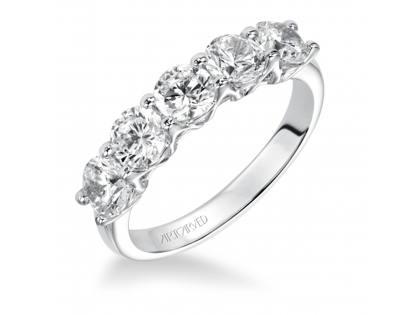 Artcarved Anniversary Band - Classic 5 stone round cut diamond shared prong trellis band. Available in the following carat weights: 0.33CT, 0.50CT, 0.75CT, 1.00CT, 1.50CT, 2.00CT.