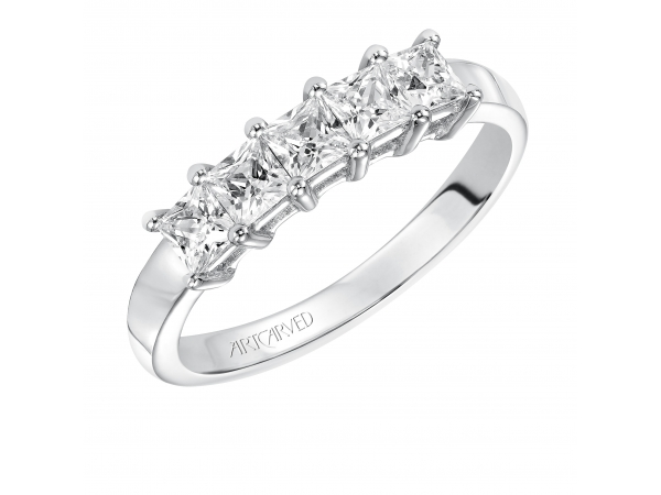 Artcarved Anniversary Band - Classic 5 stone shared prong princess cut diamond band. Available in the following carat weights: 0.50CT, 0.75CT, 1.00CT.