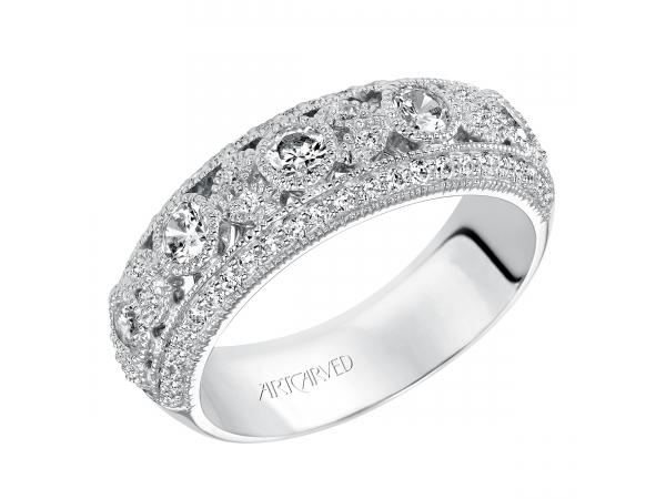 Artcarved Anniversary Band - Fashion anniversary band with intricate pattern design in the middle and milgrain borders.