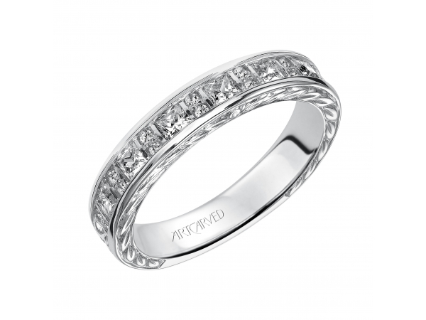Artcarved Anniversary Band - Engraved anniversary band with alternating princess cut diamonds and round diamonds.