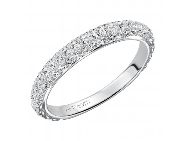 Artcarved Anniversary Band - Engraved anniversary band with sparkling Pave set diamonds.