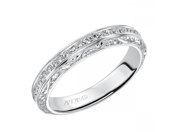 Artcarved Anniversary Band - Engraved anniversary band featuring Channel set round diamonds.