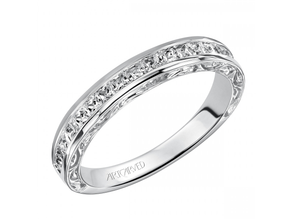 Artcarved Anniversary Band - Engraved anniversary band featuring Channel set princess cut diamonds.