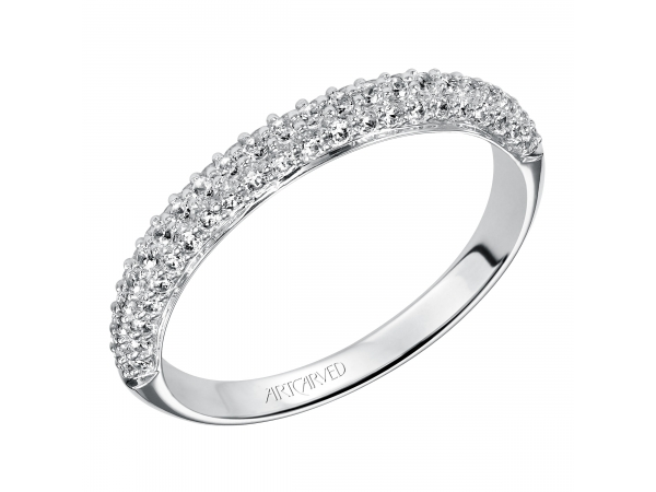 Artcarved Anniversary Band - Contemporary anniversary band with three rows of sparkling Pave set diamonds totaling 1/2 carat.