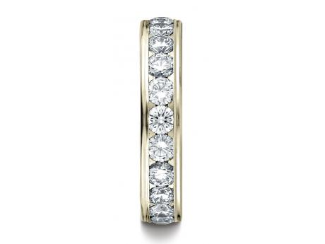 Diamond Wedding Ring - 14k YELLOW GOLD 4MM Channel Set  Eternity Ring.