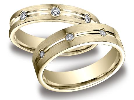 Yellow Gold Ring - CF524128YG_set - Yellow Gold, 4mm,6mm, .32ct, Available: gold, palladium, plat
