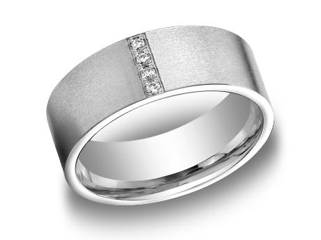 White Gold Ring - CF528712WG - White Gold, 8mm, .08ct, Available: gold