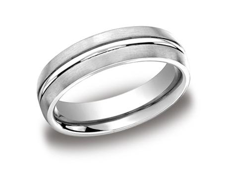 White Gold Ring - CF56411WG - White Gold, 6mm, Available: gold, plat, palladium, ceramic, titanium, tungsten, cobalt