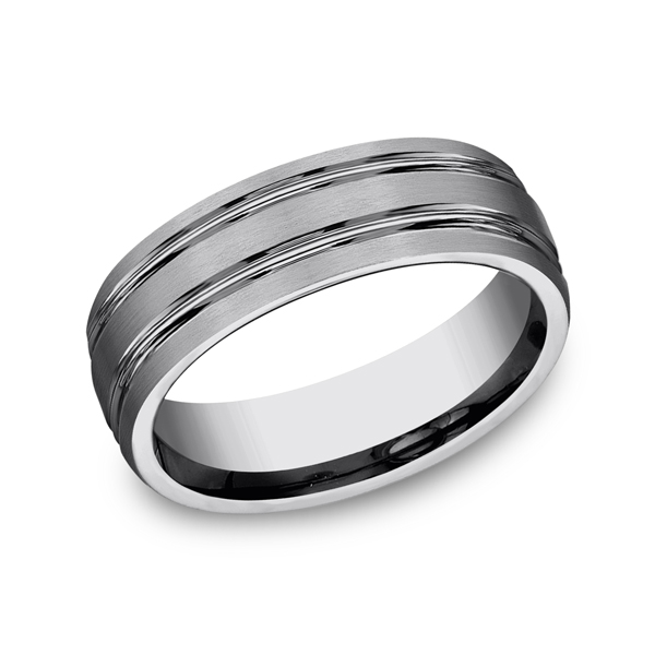 Tungsten Ring - CF57444TG - Tungsten, 7mm, Available: gold, palladium, plat, titanium, ceramic, tungsten