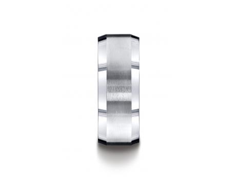 BENCHMARK Argentium Silver Wedding Ring - Argentium Silver 9mm Comfort-Fit Satin-Finished Beveled Edge Design Band