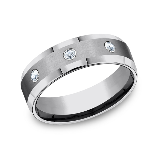 Tungsten Ring - CF97601TG - Tungsten, 7mm, .20ct, Available: tungsten