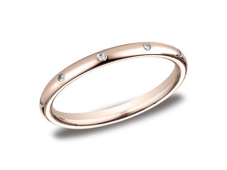 Rose Gold Ring - LCF120DRG - Rose Gold, 2mm, .10ct, Available: gold