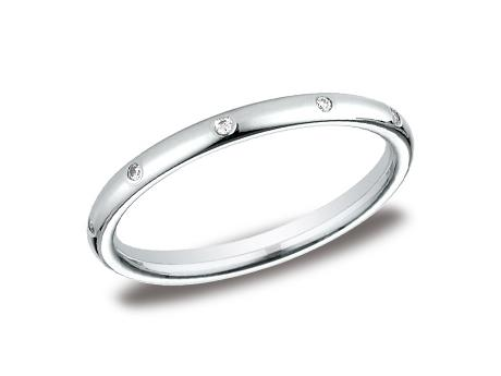 White Gold Ring - LCF120DWG - White Gold, 2mm, .10ct, Available: gold