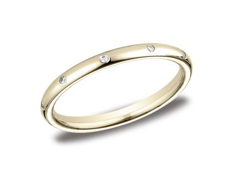 Yellow Gold Ring - LCF120DYG - Yellow Gold, 2mm, .10ct, Available: gold