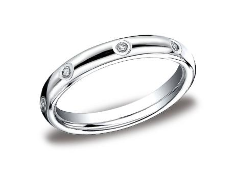 White Gold Ring - LCF130DWG - White Gold, 3mm, .16ct, Available: gold, palladium, plat