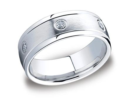White Gold Ring - RECF518140WG - White Gold, 8mm, .48ct, Available: gold, plat, palladium