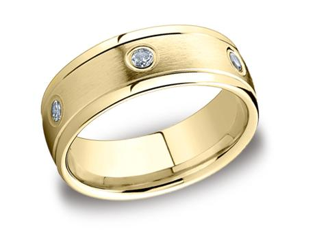 Yellow Gold Ring - RECF518140YG - Yellow Gold, 8mm, .48ct, Available: gold, plat, palladium