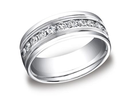 White Gold Ring - RECF518516WG - White Gold, 8mm, .96ct, Available: gold, palladium, plat