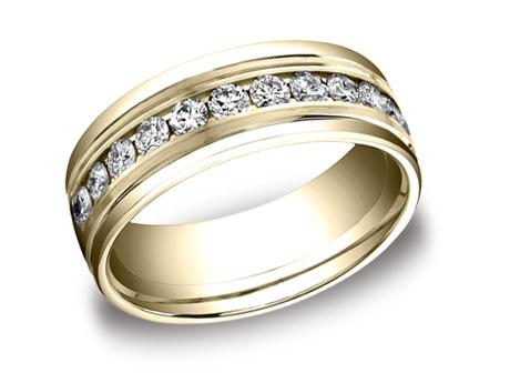 Yellow Gold Ring - RECF518516YG - Yellow Gold, 8mm, .96ct, Available: gold, palladium, plat