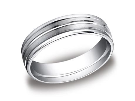 White Gold Ring - RECF56180WG - White Gold, 6mm, Available: gold, plat, palladium, ceramic, titanium, cobalt, argentium