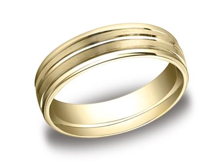 Yellow Gold Ring - RECF56180YG - Yellow Gold, 6mm, Available: gold, plat, palladium, ceramic, titanium, cobalt, argentium