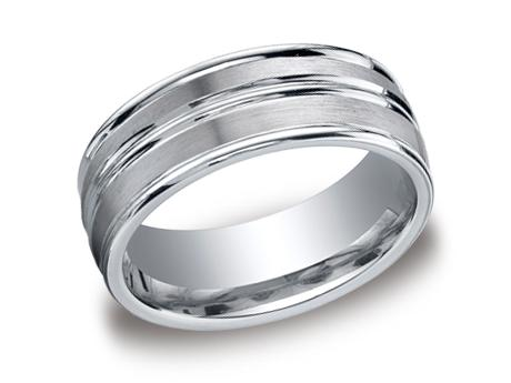 White Gold Ring - RECF58180WG - White Gold, 8mm, Available: gold, plat, palladium, ceramic, titanium, cobalt, tungsten, argentium