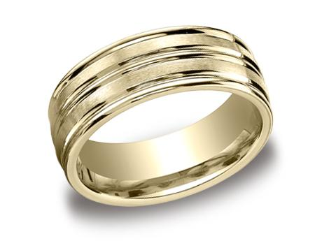 Yellow Gold Ring - RECF58180YG - Yellow Gold, 8mm, Available: gold, plat, palladium, ceramic, titanium, cobalt, tungsten, argentium