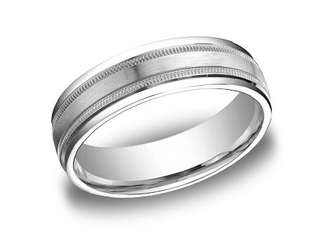 White Gold Ring - RECF7601SWG - White Gold, 6mm, Available: gold, plat, palladium