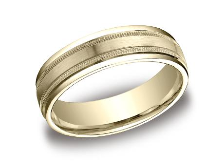 Yellow Gold Ring - RECF7601SYG - Yellow Gold, 6mm, Available: gold, plat, palladium