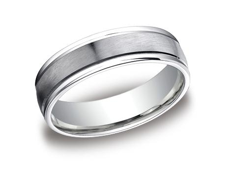 White Gold Ring - RECF7602SWG - White Gold, 6mm, Available: gold, plat, palladium, argentium, cobalt, ceramic, tungsten, titanium, gold & argentium