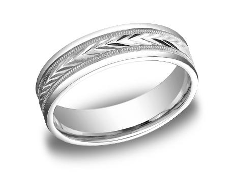 White Gold Ring - RECF7603WG - White Gold, 6mm, Available: gold, palladium