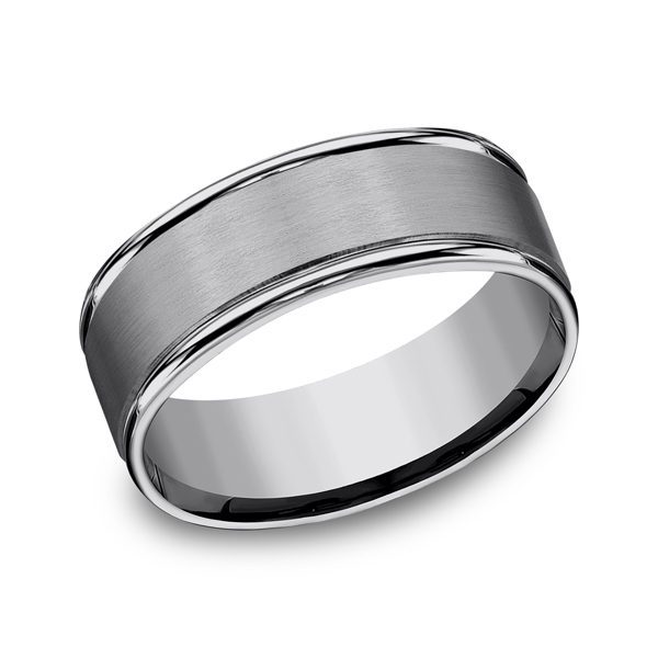 Tungsten Ring - RECF7802STG - Tungsten, 8mm, Available: gold, plat, palladium, argentium, cobalt, ceramic, tungsten, titanium, gold & argentium