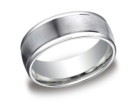 White Gold Ring - RECF7802SWG - White Gold, 8mm, Available: gold, plat, palladium, argentium, cobalt, ceramic, tungsten, titanium, gold & argentium