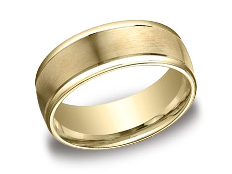 Yellow Gold Ring - RECF7802SYG - Yellow Gold, 8mm, Available: gold, plat, palladium, argentium, cobalt, ceramic, tungsten, titanium, gold & argentium
