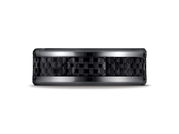 8mm Black Titanium Comfort-Fit Design Ring - This cool black titanium 8mm comfort-fit band features a carbon fiber center inlay with high polished beveled round edges that is both sleek and subtle.