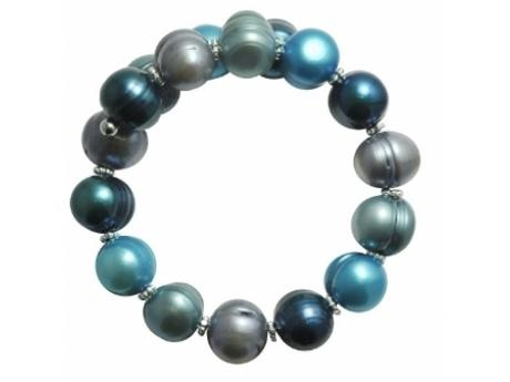 Imperial Bracelet - 11-12 MM AZUL FRESHWATER PEARL BANGLE WITH STERLING SILVER ACCENTS.