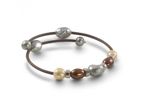 Imperial Bracelet - This beautiful rubber bracelet with freshwater pearls features four gorgeous colors chocolate  champagne and grey.